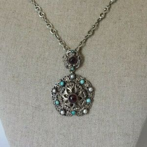 Austro Czech Sterling Garnet  Turquoise Necklace